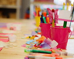 Colorful Arts and Craft Supplies on Table for School or Birthday Party